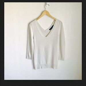 French Connection  Deep V Off White Sweater Size S